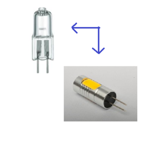 Vervang G4 halogeen lamp 12V door G4 LED priklampje12 Volt van ODF