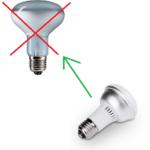 LED E27 vervangt rreflector halogeen lamp met E27 lamp fitting