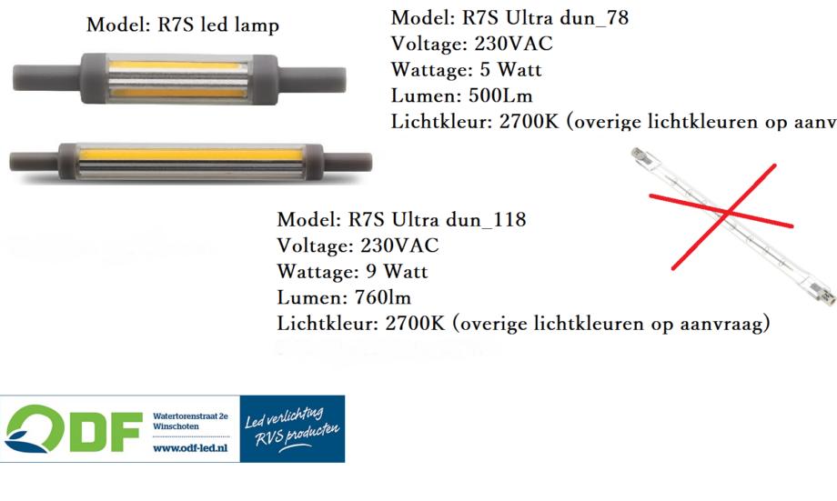 R7S halogeen buislamp vervangen door ultra dunne buisledlampen