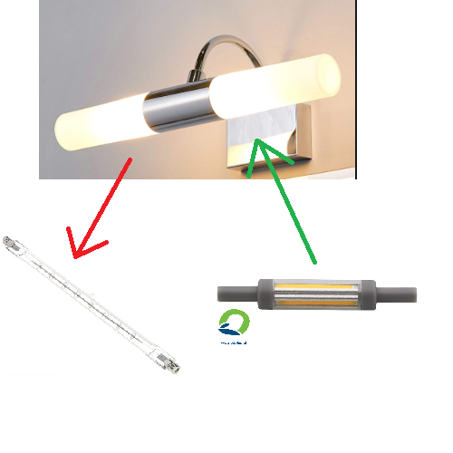 r7s spiegellamp vervangen door r7s ultra dun ultra slim led odf buislamp eruit r7s ultra dun erin