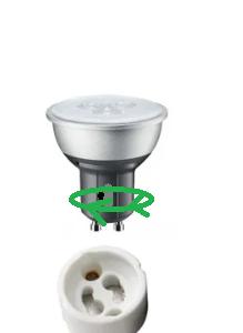GU10 led lamp indrukken en kwartslag draaien