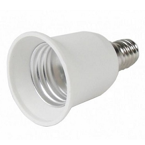 Lamp Adapter E14 naar E27 lampfitting Lamp Adapter E14, 14mm lampfitting verloopt naar 27mm E27 lampfitting Plaats eenvoudig een E27 LED Lamp in een E14 Lampfitting met deze lampadapter